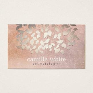 A folha de ouro elegante do falso da cosmetologia cartão de visitas