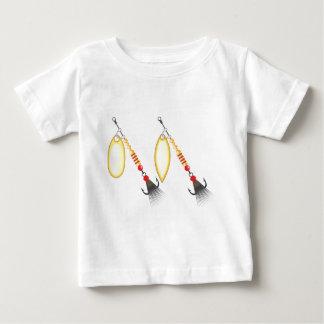 A folha dourada e a forma oval projetam a pesca do camiseta para bebê