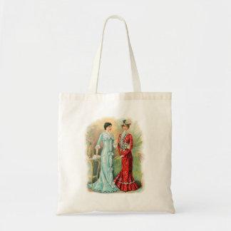 A forma da mulher das mulheres do vintage veste o sacola tote budget