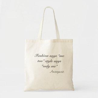 """A forma diz que o estilo """"imitação"""" me diz sacola tote budget"""