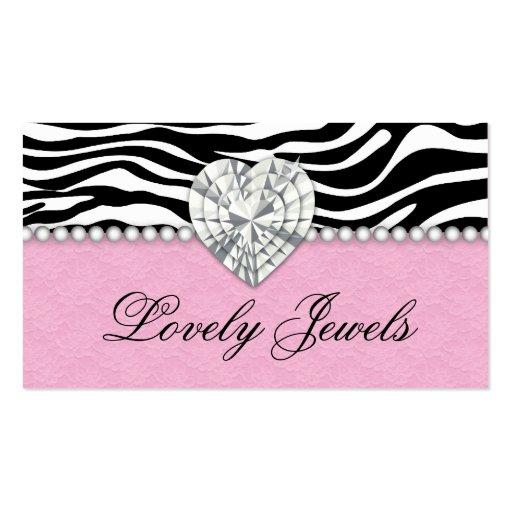 A forma Jewels o rosa do laço da zebra das pérolas Cartao De Visita