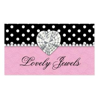 A forma Jewels o rosa do laço dos pontos das pérol Cartoes De Visita