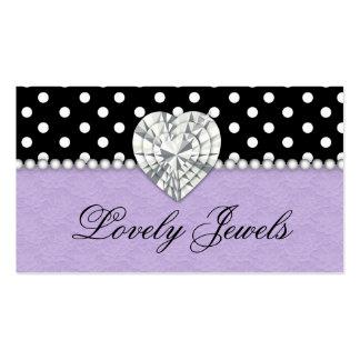 A forma Jewels o roxo do laço dos pontos das Cartão De Visita