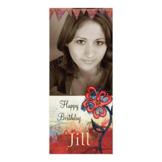 a foto adolescente do aniversário da menina convite 10.16 x 23.49cm