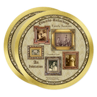 A foto da antiguidade da reunião de família molda convite quadrado 13.35 x 13.35cm