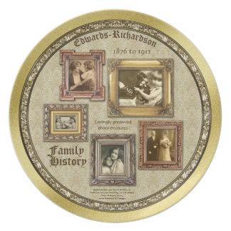 A foto da antiguidade dos antecedentes familiares prato