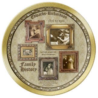 A foto da antiguidade dos antecedentes familiares prato de porcelana
