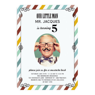 A foto da festa de aniversário do bigode dos convite 12.7 x 17.78cm