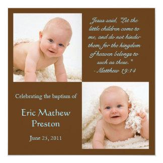 A foto do baptismo convida com verso da bíblia convite quadrado 13.35 x 13.35cm