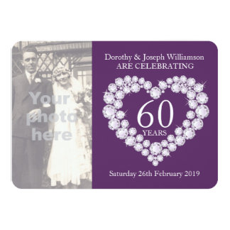 A foto do casamento do coração do diamante 60 anos convite personalizado