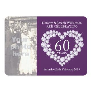 A foto do casamento do coração do diamante 60 anos convite 11.30 x 15.87cm