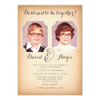 A foto engraçada do casamento das fotos da escola convite 12.7 x 17.78cm