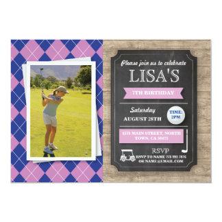 A foto Golfing da festa de aniversario de meninas Convite 12.7 X 17.78cm
