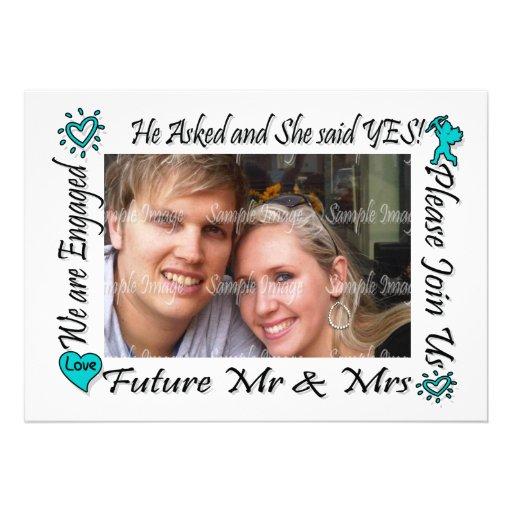 A foto moderna dos casais do noivado PERSONALIZA Convite