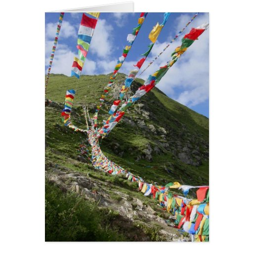A foto/oração de Tibet embandeira o tibetano Cartão