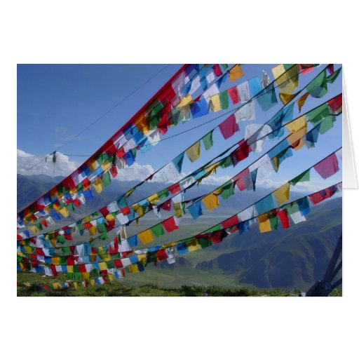 A foto/oração de Tibet embandeira o tibetano Cartao