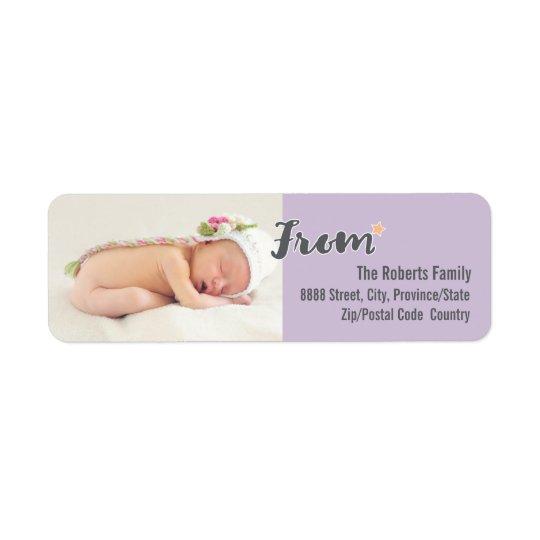 A foto personalizada primeiro Natal do bebê, roxa Etiqueta Endereço De Retorno