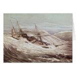 A fragata do vapor de Mississippi em um tufão Cartoes