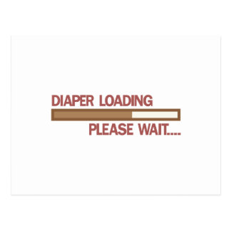 A fralda que carrega por favor espera…. cartão postal