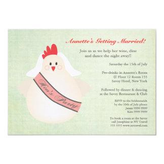 A galinha engraçada do partido de galinha convite 12.7 x 17.78cm