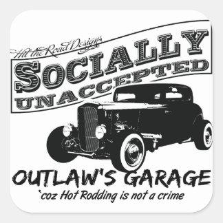 A garagem do fora da lei. Hot rod social Adesivo Quadrado