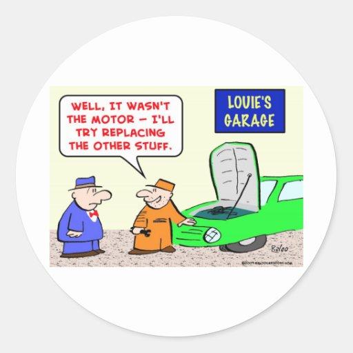 a garagem substitui o motor adesivos redondos