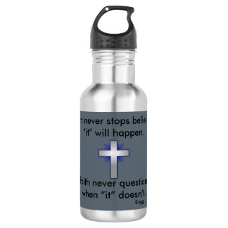 A garrafa de água w/Blue da fé nunca alargou-se