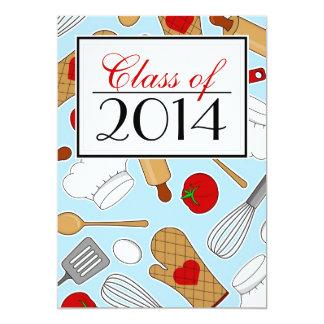 A graduação culinária bonito da escola convida o convite 12.7 x 17.78cm