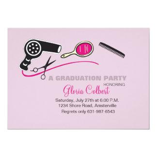 A graduação da escola da beleza do Beautician Convite 12.7 X 17.78cm
