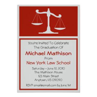 A graduação da escola de direito convida as convite 12.7 x 17.78cm