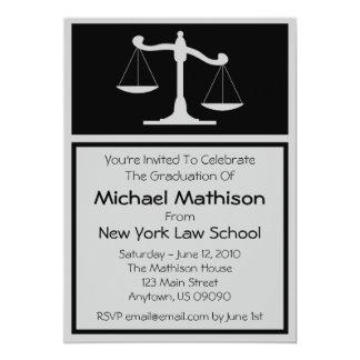 A graduação da escola de direito convida escalas convite 12.7 x 17.78cm