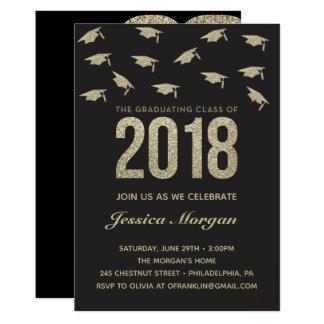 A graduação do ouro do convite da festa de