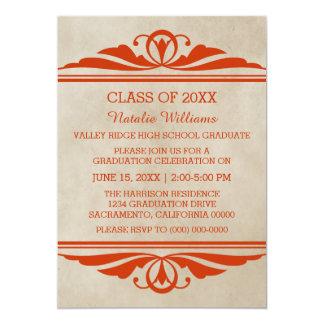 A graduação elegante alaranjada de Deco convida Convite 12.7 X 17.78cm