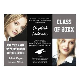 A graduação elegante da jovem mulher das cinzas e convite 12.7 x 17.78cm