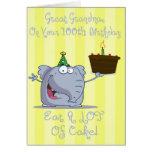 A grande avó come mais cartão de aniversário do bo