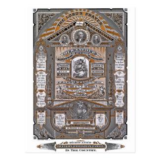 A gravura do vintage da Oração do senhor Cartão Postal