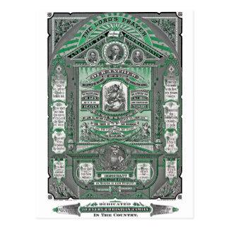 A gravura do vintage da Oração do senhor (verde) Cartões Postais