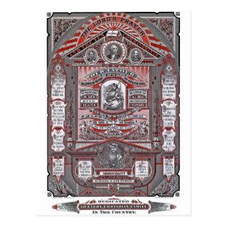 A gravura do vintage da Oração do senhor (vermelha Cartoes Postais