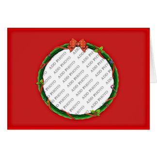 A grinalda do Natal adiciona seus foto & fundo Cartão Comemorativo