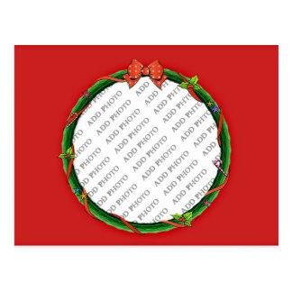 A grinalda do Natal adiciona seus foto & fundo Cartão Postal