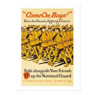 A guarda nacional vem na propaganda dos meninos cartão postal