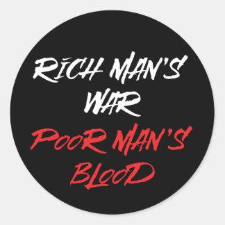 A guerra de homem rico, etiqueta do sangue do