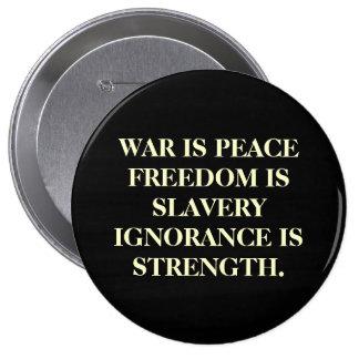 A guerra é paz bóton redondo 10.16cm