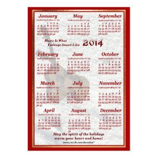 A guitarra 2014 deixou o calendário do bolso de ar cartão de visita grande