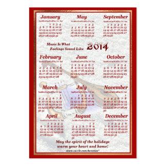 A guitarra 2014 e a harpa deixaram o calendário do cartão de visita grande