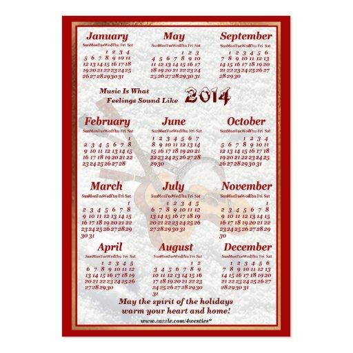 A guitarra 2014 e o banjo deixaram o calendário do cartão de visita