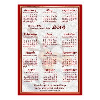 A guitarra 2014 e o banjo deixaram o calendário do cartões de visitas