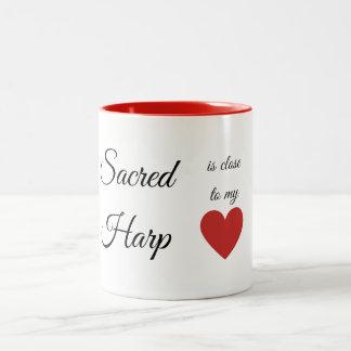 A harpa sagrado é próxima a meu coração caneca de café em dois tons