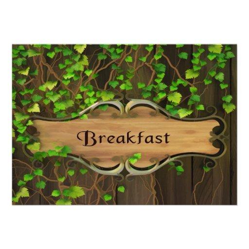 A hera cobriu a cerca & o pequeno almoço de madeir convite personalizados