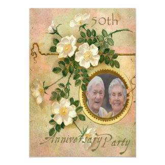 A herança aumentou foto personalizada 50th convite 12.7 x 17.78cm